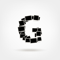 Letter G made from photo frames, insert your photos