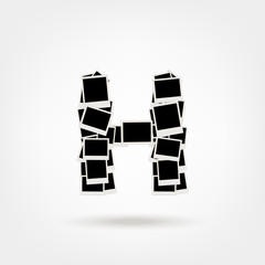Letter H made from photo frames, insert your photos