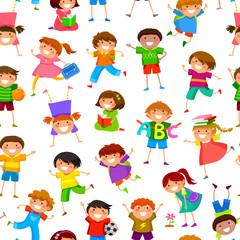 seamless pattern with cartoon kids