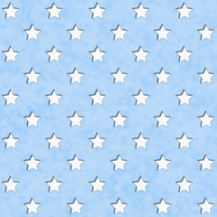 Blue and White Star Fabric Background