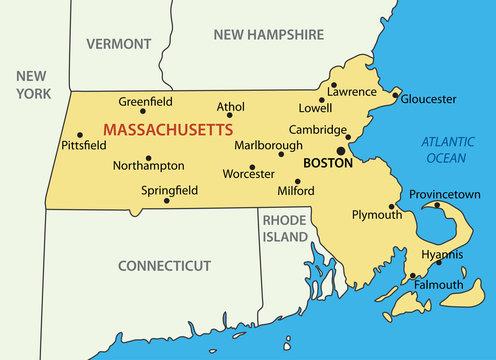 Commonwealth of Massachusetts - vector map