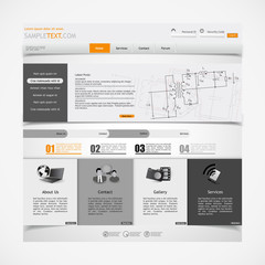 website design template with electronics schematic illsutration