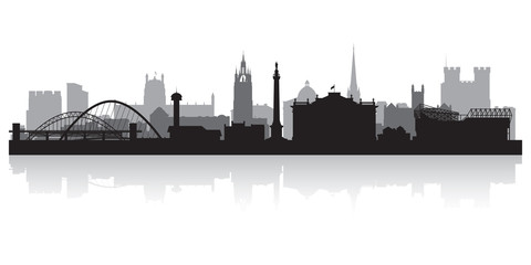 Fototapete - Newcastle city skyline silhouette