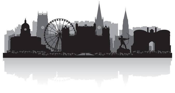 Nottingham city skyline silhouette