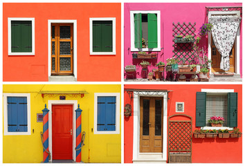 photo- montage with multicolor  vivid painted houses  in Burano