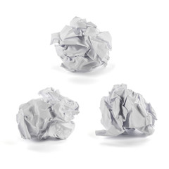 Set of crumpled paper ball isolated on white background