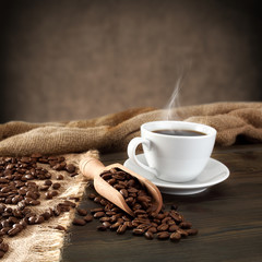 Wall Murals Coffee beans cup of coffee