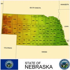 Nebraska USA counties name location map background