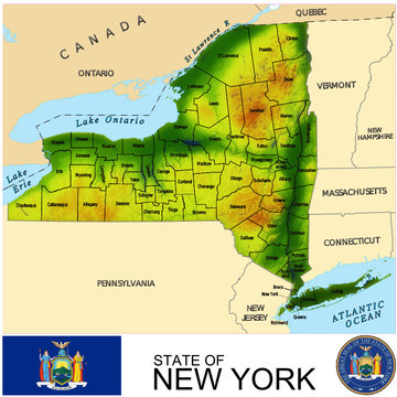 New York USA counties name location map background
