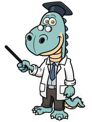 Vector illustration of Dinosaur professor