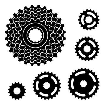 vector bicycle gear cogwheel sprocket symbols