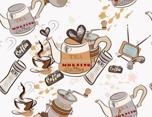 Seamless vector wallpaper on coffee theme