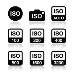 ISO - camera film speed standard icons set