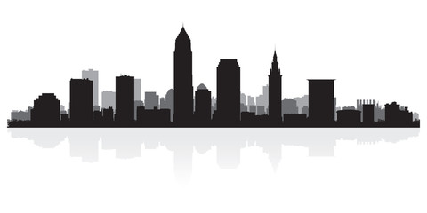 Wall Mural - Cleveland city skyline silhouette