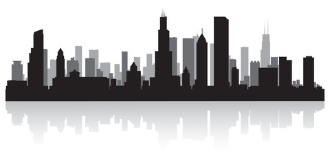 Wall Mural - Chicago city skyline silhouette