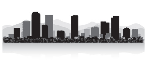 Fototapete - Denver city skyline silhouette
