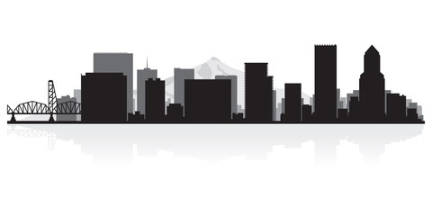 Wall Mural - Portland city skyline silhouette