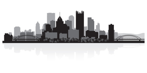 Fototapete - Pittsburgh city skyline silhouette