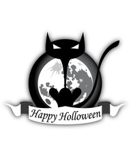 Holloween Black Cat And Moon