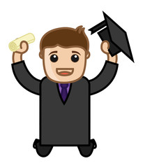 Happy Graduate Man - Cartoon Office Vector Illustration