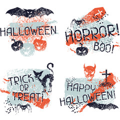 Happy Halloween prints with grunge texture.