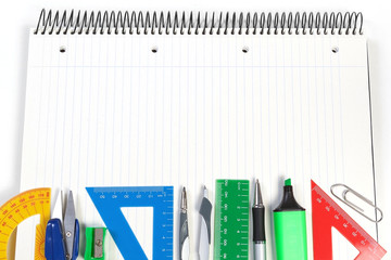 A set of office tools on the notebook to take notes. Frame for n