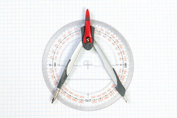Tools for Plotting compass and protractor. On a white background