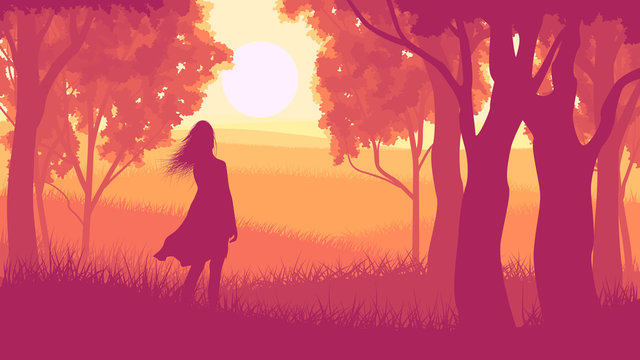 Horizontal illustration within forest with silhouette girl in su