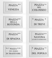 Collection of Marble signboards of Rome, Italy