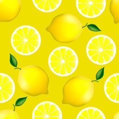 Citrus seamless pattern with lemons