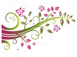 Große Ranke mit Blumen und Blättern. Bunter Ast.