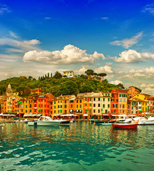 Portofino village on Ligurian coast, mediterranean sea
