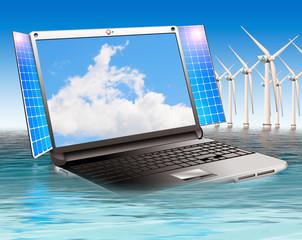 Laptop, Notebook mit Solarenergie und Windpark auf Meer