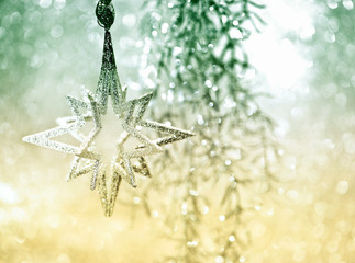 shiny silver star. christmas decoration