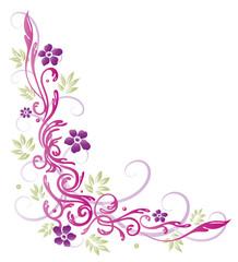 Ranke mit Blumen und Blättern. Pastell, Sommer.