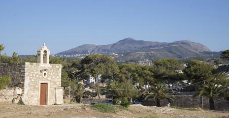 Sacred Ekaterina's church. Fortezz's fortress.Rethymno. Island o