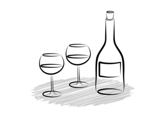 Two wine glasses and bottle