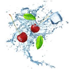 Foto op Aluminium Opspattend water fresh cherries with water splash