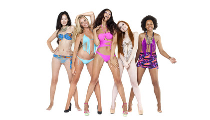 Five young women in bikini