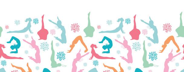 Vector fun workout fitness girls horizontal seamless pattern