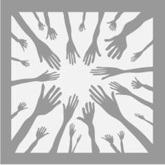 vector illustration of hands as team symbol