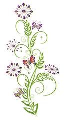 Ranke mit zarten Blüten und kleinen Schmetterlingen. Sommer.