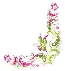 Sommerliche Ranke mit Blumen und Schmetterling, grün, pink.
