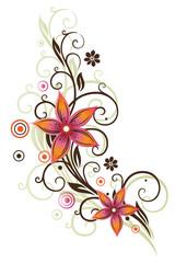 Ranke im retro style. Blumen, Sommer, orange, pink.