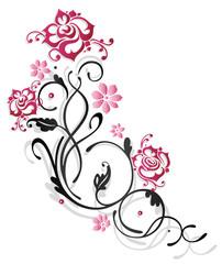 Zarte Ranke mit Rosen, Blumen und Blättern. Rosenranke, pink.