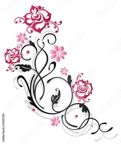 Zarte Ranke Mit Rosen Blumen Und Blattern Rosenranke Pink
