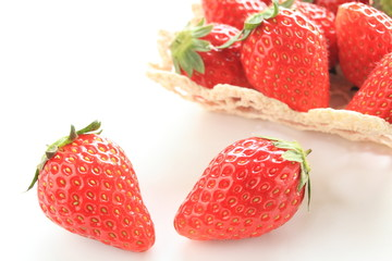 freshness strawberry from Japan on white background