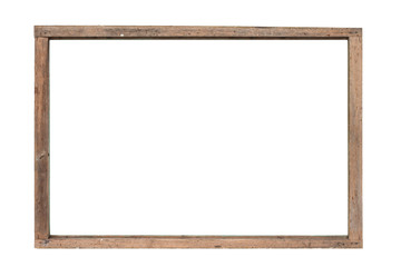 old wood frame vintage on white background with clipping path