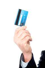 Image of man's hand holding cash card