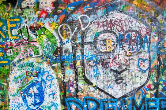 Colorful John Lennon wall in Prague